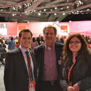 MdL Tobias Eckert, Judith Hautzel und Heiner Etzold auf dem Bundesparteitag