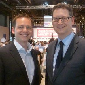 Der Kandidat für das Ministerpräsidentenamt Torsten Schäfer-Gümbel und Tobias Eckert